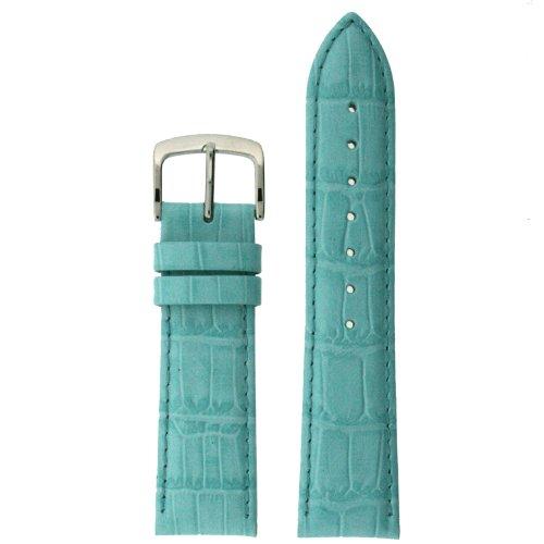 Watch Band Aqua Genuine Leather Crocodile Grain 16 millimeter Tech (Aqua Womens Watch Band)