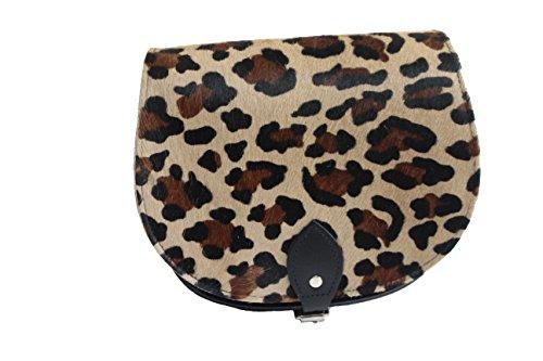 Pelle Regolabile Di Croce Cowhide Bovina Con Cuoio Leopardo Tracolla Chiusura Reale E Corpo Fibbia Borsa FrFq1g