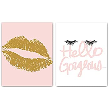 Designs by Maria Inc. Set of 2 Fashionista Prints (Unframed) Lips & Lashes Wall Art Makeup Bathroom Decor (8x10) (Option 1)