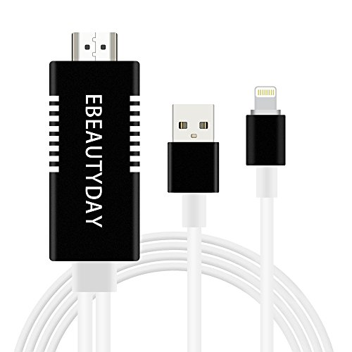 Lightning to HDMI Adapter,iPhone to HDMI Lightning Digital AV Adapter 6.5ft 1080P HDTV Cable for iPhone(Compatible with iPhone X/8/8 plus),iPad,iPod by EBEAUTYDAY