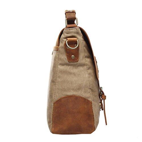 Super moderno hombres lienzo bolsa de hombro maletín Messenger de piel estilo británico retro lienzo Casual Cruz Cuerpo Mensajero Bolsa De Hombro Traval, Caqui Caqui