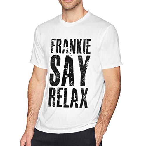 ZlTRNNc Frankie Say Relax Mens Shirt Short Sleeve T-Shirt, Casual Shirt for Men Teenagers White