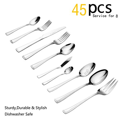 Silverware Set, 45 Pieces Flatware Set with Fork, Knife and Spoon, Service for 8 by Lorena (RUMER, 45pcs) ()