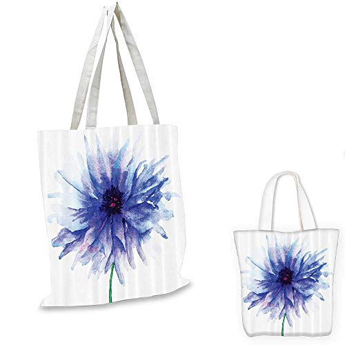 Personalized Petite Tote Bag - Watercolor Flower Decor shopping tote bag Faded Single Large Petite Cornflower On Plain Background Mother Earth Paint travel shopping bag Violet Blue White. 12