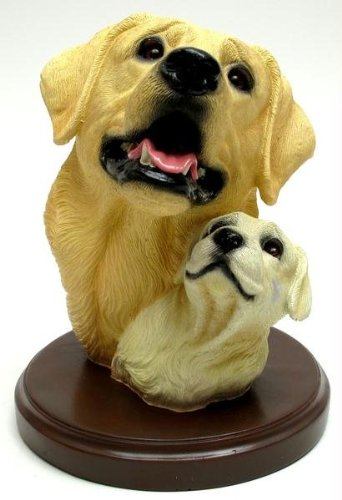 Iwgac Living Stone Yellow Lab with Pup Bust on Base ()