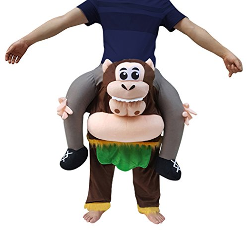 Creative Apparel Monkey Funny Piggyback, Ride-on Shoulder, Carry Me Costume for Adults, One