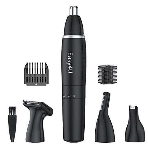 Easy4U Ear and Nose Hair Trimmer for Men & Women, 4 in 1 Electric Eyebrow Trimmer Painless Nose Clippers Facial Hair Remover Waterproof with Dual Edge Blades Battery-Operated