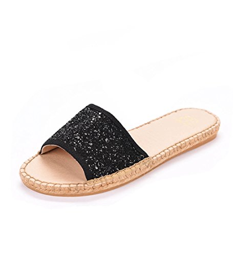 Andrew Stevens Women's Candice Made In Spain Fashion Espadrille Slide (37, Black - Palermo Fall Olivia Fashion