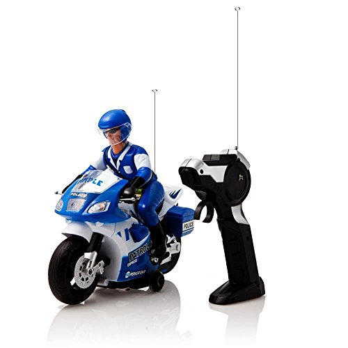 Et Bike Costume (White and Blue Speed Demon Electric Radio Remote Controlled Police Motorcycle with Driver, Lights & Sound Effects by Dimple)