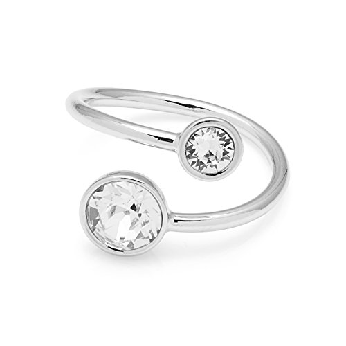 The Gemseller Women's Swarovski Crystal Swirl Ring Finished in 14K White Gold Plating