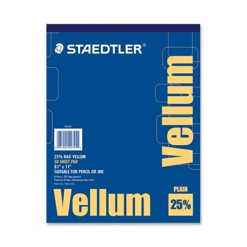 Staedtler Mars Vellum Paper - Wholesale CASE of 25 - Staedtler Vellum Paper Pad-Vellum Pad, 16 lb., 50 Sheets, 8-1/2