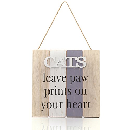 9.6x9.6 inches Wood Jute Rope Hanging Welcome Sign Plaque for Home Decor (CATS leave paw prints on your -