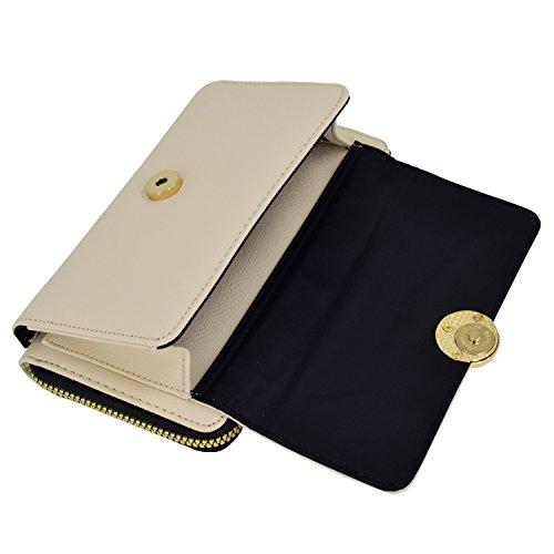 Strap for Pratical Phone Detachable Leather Cream Bag ESA Wallet Mini Women Vegan Around RFID Blocking Zip Crossbody tftwZF