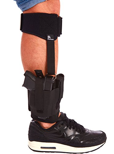 - Evoholster Ankle Holster with Adjustable Calf Strap For Concealed Carry by Universal Leg Holster with Mag Pouch and Padding For Glock 26, 27, 30, 42, 43, Smith & Wesson M&P Shield, Ruger LCP