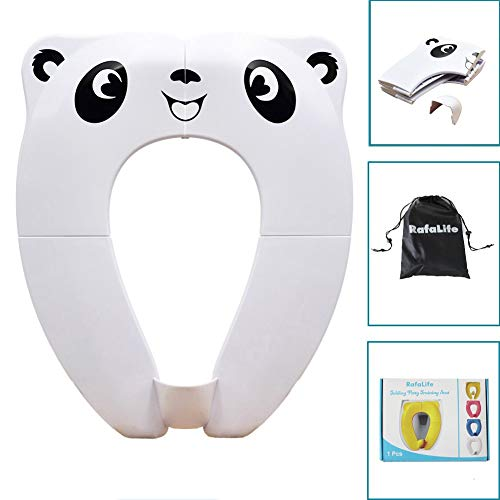 RafaLife – Portable Toilet Training Seat for Toddlers, Boys & Girls. Large Upgraded Folding Travel Potty Seat. Extra Stable, Powerful and Safe, with Handy Carry Bag – White Panda