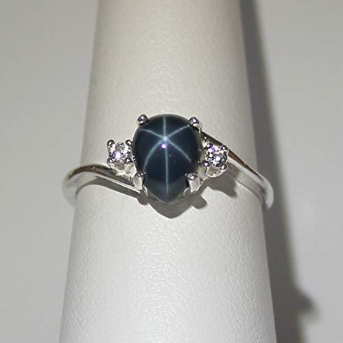 Genuine Blue Star Sapphire Sterling Silver Ring with Diamond Accents