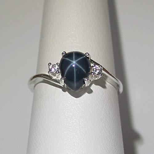 Genuine Blue Star Sapphire Sterling Silver Ring with Diamond - Diamond Blue Star Sapphire