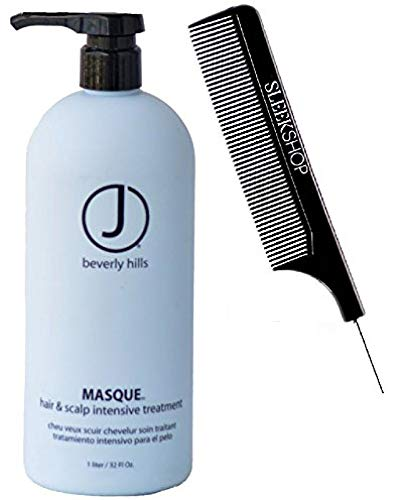 J Beverly Hills MASQUE Hair & Scalp Intensive Treatment Mask (with Sleek Steel Pin Tail Comb) (32 oz / 1 L - PRO Liter size)