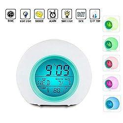 Gazelle Trading Kids Alarm Clock Wake Up LED Digital Alarm Clock for Kids 7 Colors Changing Light Bedside Snoozing Clock for Boys Girls Bedroom Indoor Temperature Calendar