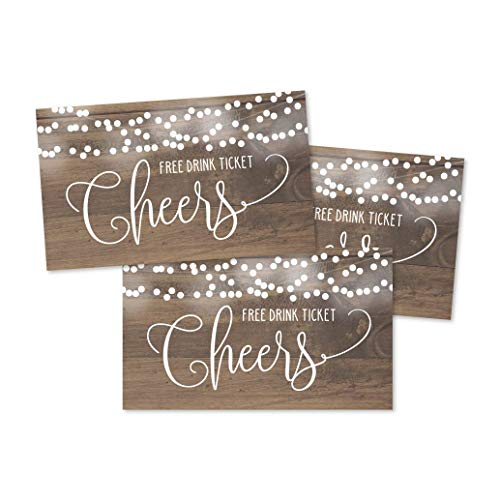 50 Rustic Wood Drink Ticket Coupons for a Free Drink at Weddings, Work Events or Party Bar, One Free Beer Wine Alcohol Soft Drink or Food Vouchers, Lights Cheers Large Drinking Paper Raffle Cards
