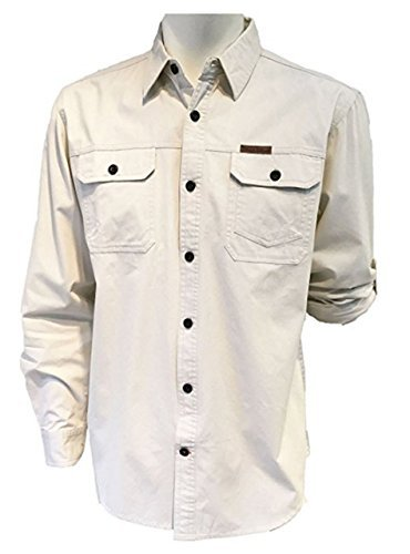 Field & Stream Original Outfitters Brushed Poplin Long Roll up Sleeves Shirt (S, Ecru) (Cotton Poplin Field Shirt)