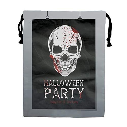 Halloween Printable Flyer Drawstring Bags Waterproof Party Favors Pouch Tote Bag For Women Men for $<!--$11.50-->
