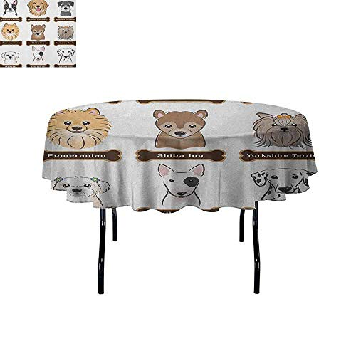 - Dog Washable Tablecloth Various Type of Dogs Nameplate Boston Terrier Domestic Animal Faithful Loyal Dinner Picnic Home Decor D59 Inch Grey Cream White