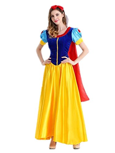 Princess Dresses For Teens (Leright Women's Princess Costume for Teens & Adult Snow Halloween Dress, Adult, S(US SIZE XS))
