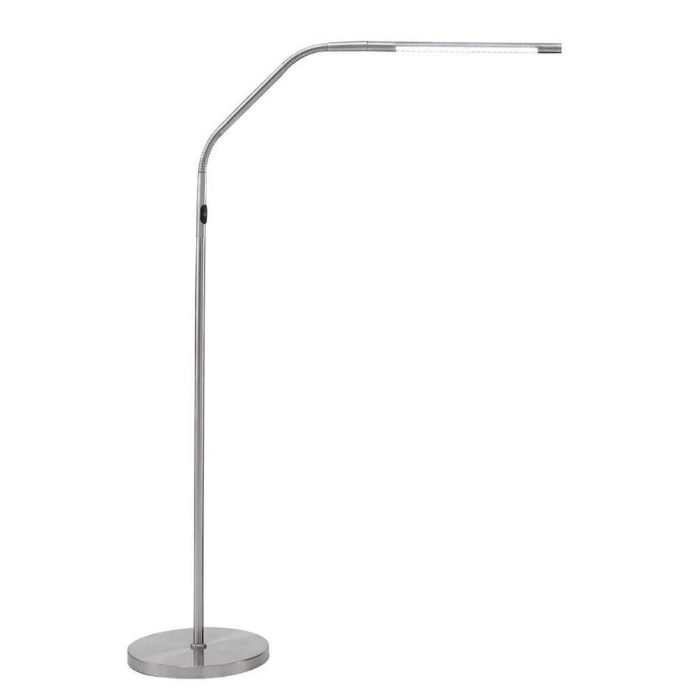 Slimline Led S Floor Lamp-Brushed Chrome by Daylight