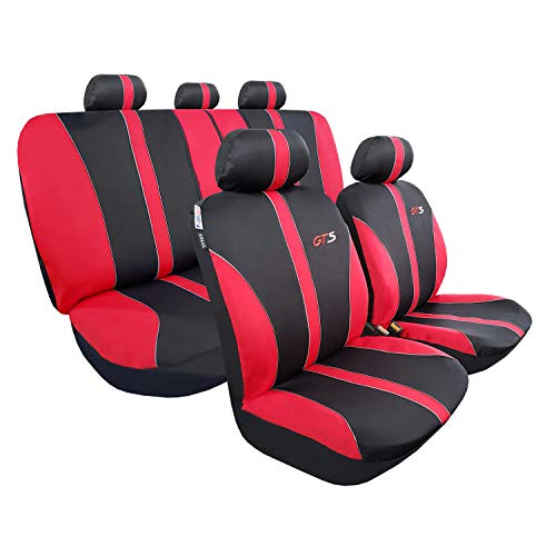 Universal Car Seat Covers Set, Full Coverage Auto Seat Covers of 5 Detachable Headrests and Split Rear Bench, Seat Protector Fit Most Car Truck SUV or Van, Non Slip, Airbag Split Ready, Black Red