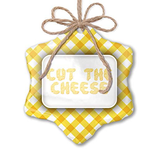 NEONBLOND Christmas Ornament Cut The Cheese Swiss Cheese Yellow Plaid