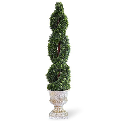 Double Spiral Topiary - National Tree 54 Inch Double Cedar Spiral Tree in Decorative Urn (LCDS4-705-54)