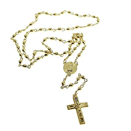 (Jesus Crucifix Cross Gold Finish Oval Rosary La Virgen De Guadalupe Rosario Mary Necklace)