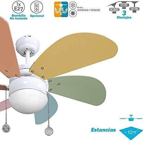 003 Ventilador de techo con luz colores pastel, 1xE27, 77 cm ...