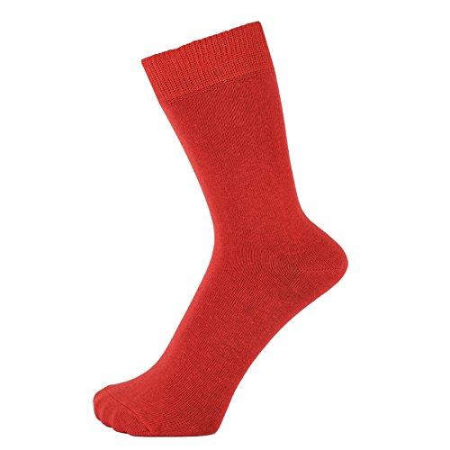 ZAKIRA Finest Combed Cotton Dress Socks in Plain Vivid Colours for Men, Women, 7-12 (US), Red from ZAKIRA