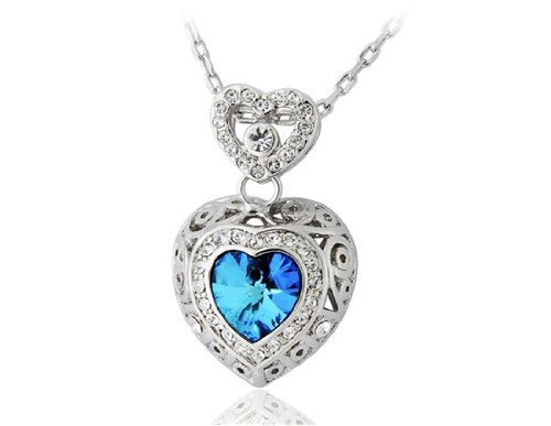 ITALINA Sea Series Blue Crystal Stencil Heart Shape Pendant Necklace (White Golden) ()