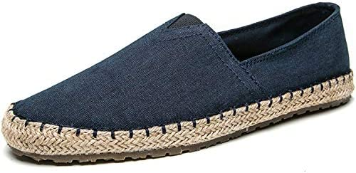 Men Casual Shoes Canvas Loafers Slip On Mens Flat Shoes Blue 6.5 M US