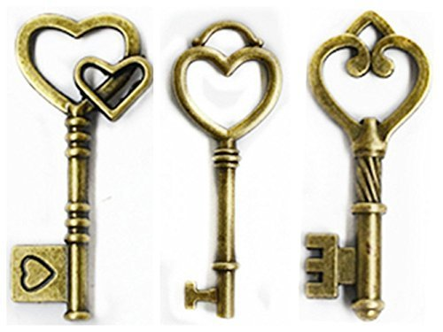 Heart Shaped Key Charm - Makhry Mixed 30 Antique Bronze Vintage Skeleton Keys Heart shaped key Craft Keys for Decoration Wedding Party Antique Charms