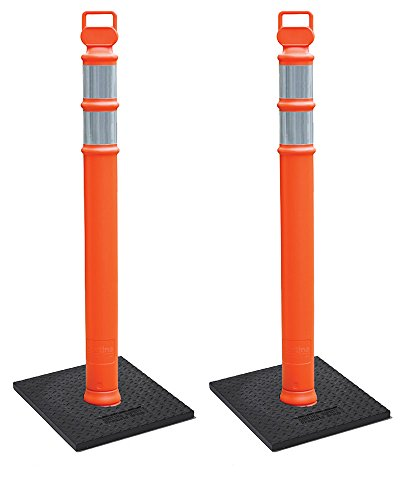 "Cortina EZ Grab Delineator 45"" Post, 3"" Hip Collars with 10 lb Base, 03-747RBC-2, Orange, 2 Pack"