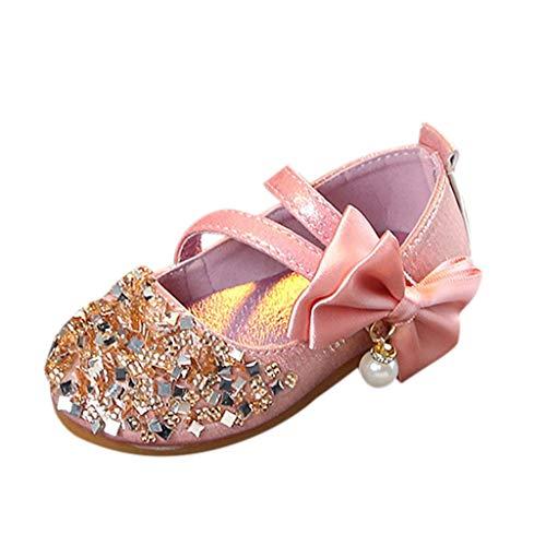 (Alimao Baby Girl Pearl Mary Jane Flats Princess Dress Shoes Soft Shoe,Pearl Crystal Bling Bowknot Princess Party Elegant Wedding Shoes Flat Casual )