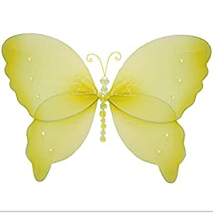 """Hanging Butterfly 7"""" Small Yellow Crystal Mesh Nylon Butterflies Decorations Decorate Baby Nursery Bedroom Girls Room Ceiling Wall Decor Wedding Birthday Party Baby Shower Bathroom Kid Child 3D Art"""