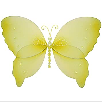 Hanging Butterfly 7u0026quot; Small Yellow Crystal Mesh Nylon Butterflies  Decorations Decorate Baby Nursery Bedroom Girls