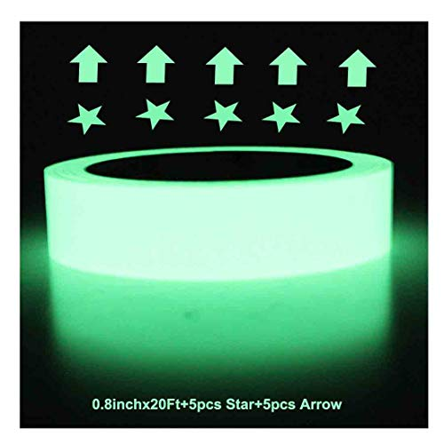 Ksyh Glow in The Dark Tape, 20 feet x 0.8 Inch, Luminous Tape Sticker, Luminescent/Photoluminescent/Roll Safety,Egress Markers Stairs,Walls,Steps,Exit,Sign, Glowing Pro Theatre Stage Floor -
