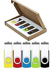USB Stick Flash Drive 64GB 5 Pack USB 2.0 Jump Drive Thumb Drive Pen Drive Bulk Memory Sticks Zip Drives Swivel Design Yellow/Red/Blue/Green/Black (5 PCS Mixed Color)