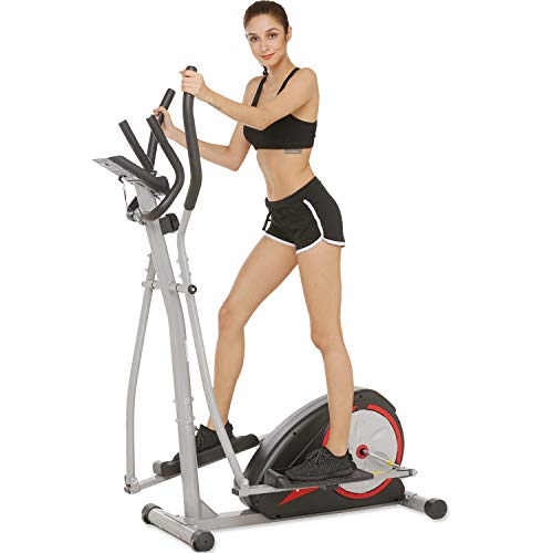 Aceshin Elliptical Machine Trainer Compact Life Fitness Exercise Equipment for Home Workout Offic Gym (Red)