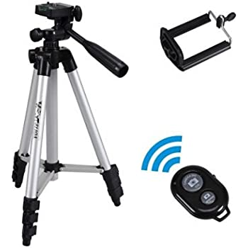 Tobeape Tripod for Camera and Smartphone, 50-Inch Aluminum Universal Camera Tripod with Cell Phone Holder Mount + Bluetooth Wireless Remote Control Camera Shutter for iPhone, Samsung Galaxy and More