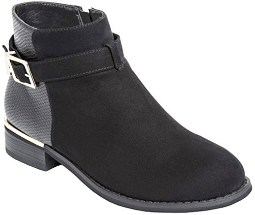 Buckle Black with Ankle Ladies Boots Suede Decoration pxRO7Bqtnw