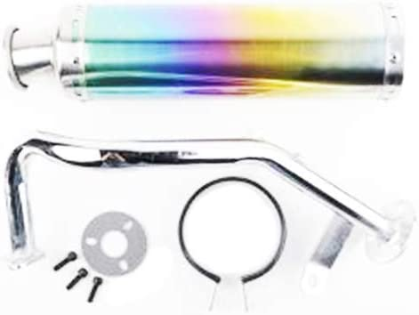 Aquiver Auto Parts New Scooter Performance Exhaust with Multicolor Chrome Muffler 50cc