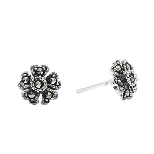 Silverly Women's .925 Sterling Silver Simulated Marcasite Oxidised Flower Shaped Studs Earrings