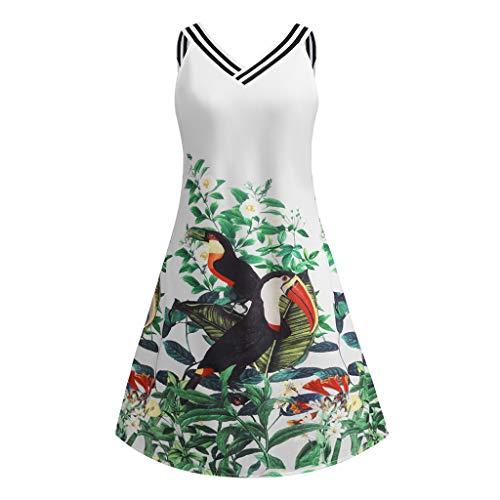 iDWZA Women Vintage Bodycon Sleeveless V Neck Floral Bird Print Party Tank Mini Dress(White,L) -